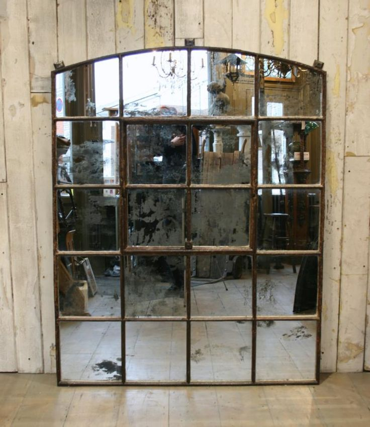 Antique Warehouse Window Glazed With Antiqued Mirror Glass