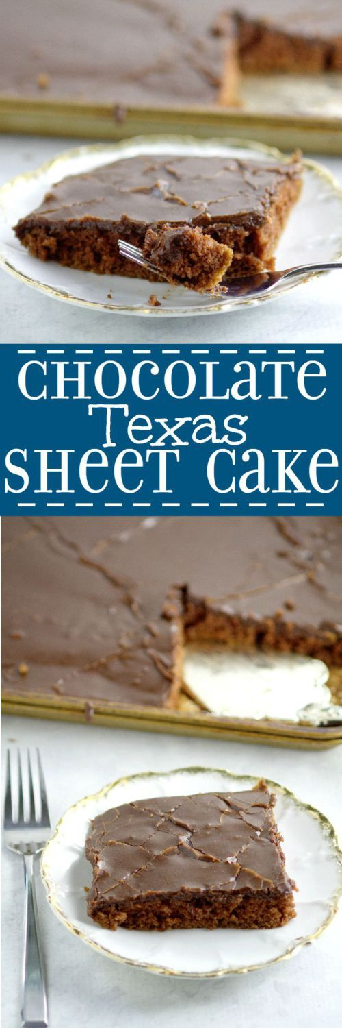 Chocolate Texas Sheet Cake  Recipe -  An easy homemade chocolate cake recipe from scratch.  This cake is THE BEST! Rich, chocolate, and moist!  The richest, most delicious chocolate cake on the PLANET with moist chocolate cake and a decadent fudge frosting. An absolute must-try for chocolate lovers!