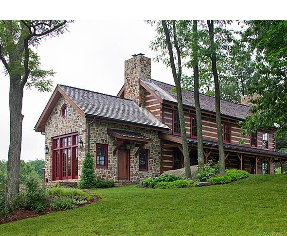 59 best images about hand hewn log homes on pinterest for Stone and log homes