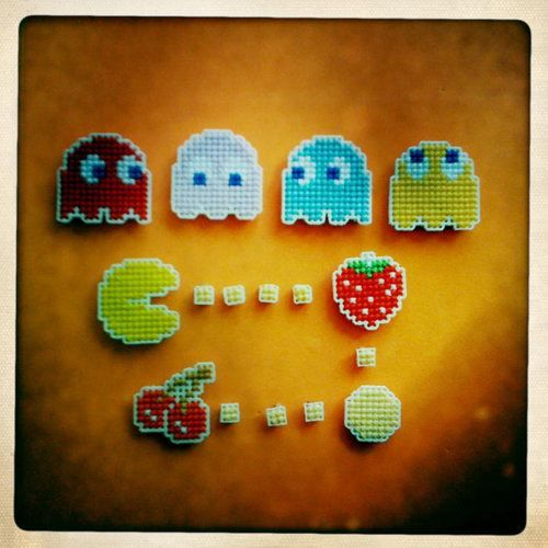 Pacman cross-stitch