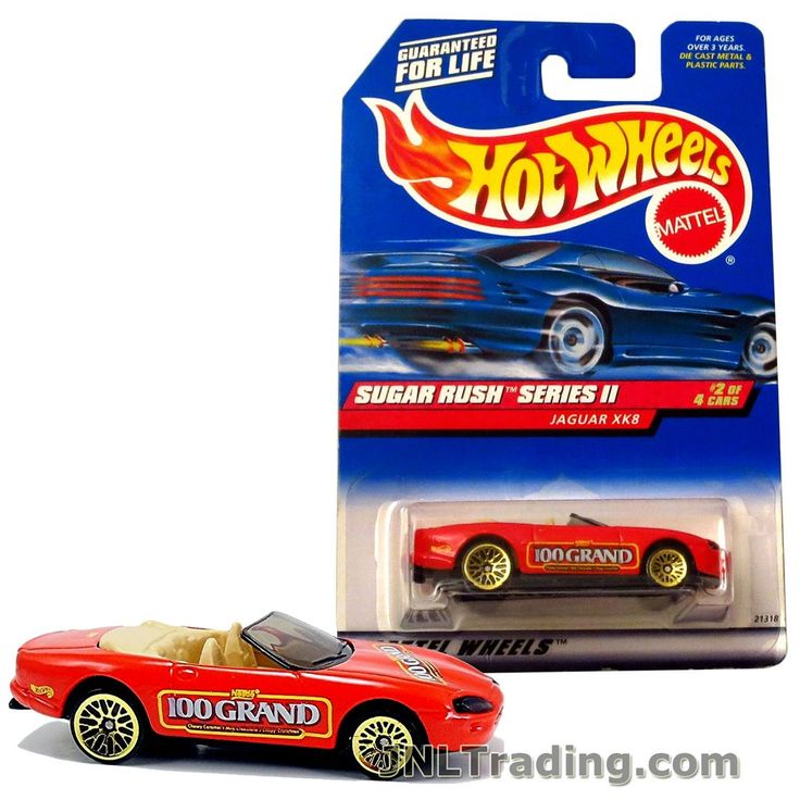 Hot Wheels Year 1998 Sugar Rush Series 1:64 Scale Die Cast Car Set #2 - Nestle 100 Grand Red Color Sports Convertible Coupe JAGUAR XK8 21318
