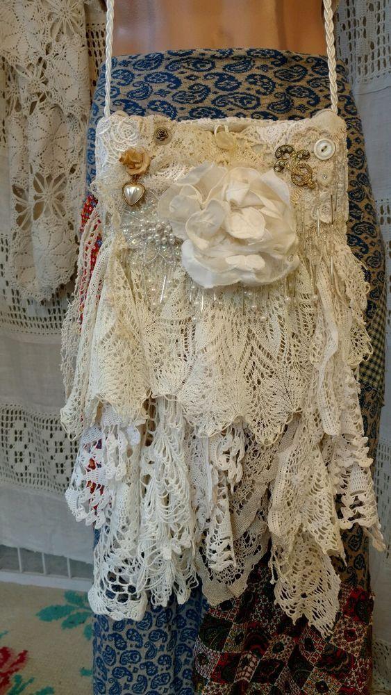 Handmade Vintage Lace Bride Bag Shabby Chic Wedding Purse Cross Body Boho tmyers #Handmade #MessengerCrossBody