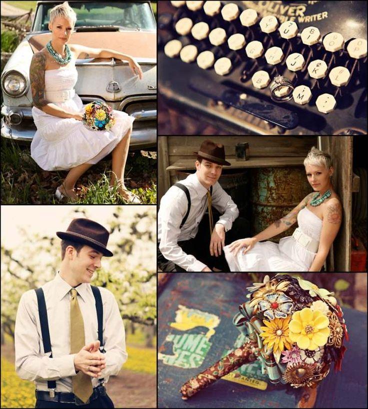 bouquet de mariée en bijoux et déco vintage en machine à écrire