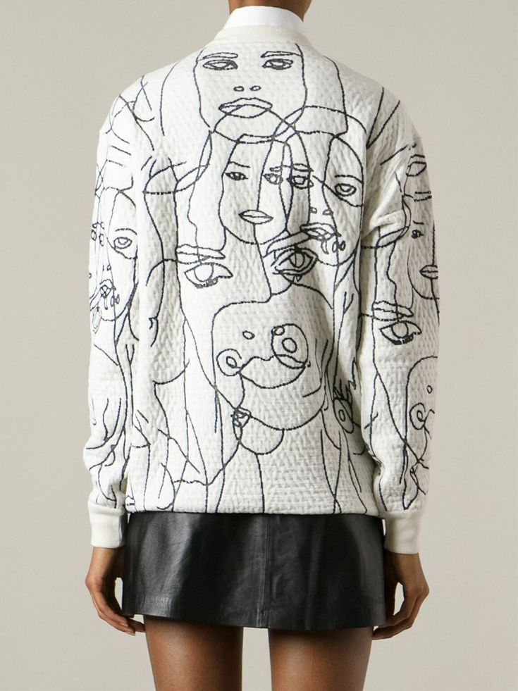 Idée trait de couture comme un trait de crayon!!! Face embroidered sweatshirt; monochrome pattern fashion // Stella McCartney