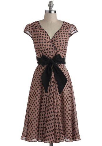 Have the Dance Floor Dress - Long, Pink, Black, Polka Dots, Belted, Party, Vintage Inspired, A-line, Cap Sleeves, V Neck, 50s