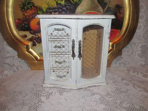 Shabby Chic Antique White Jewelry Box by DebosHomeDecor on Etsy, $42.95