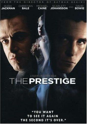 Christopher Nolan's The Prestige (2006) Starring: Hugh Jackman, Christian Bale, Michael Cane, Scarlett Johansson, and David Bowie as Nikola Tesla