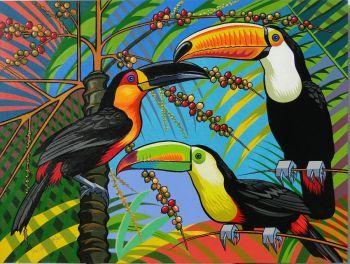 Tucanos na palmeira Artist: Macedo Flavio Artwork title: Tucanos na palmeira