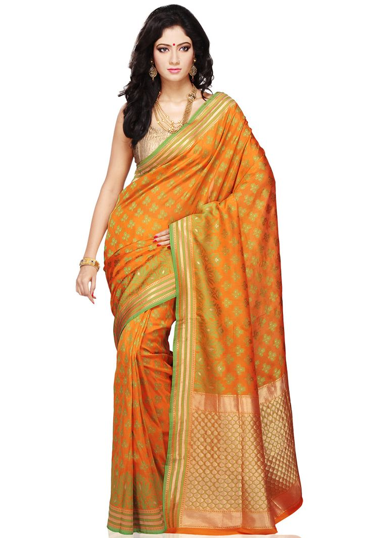 @utsavfashion B'ful light orange, green, gold pure Banarasi #Handloom #Silk #Saree with Blouse: SMBA90