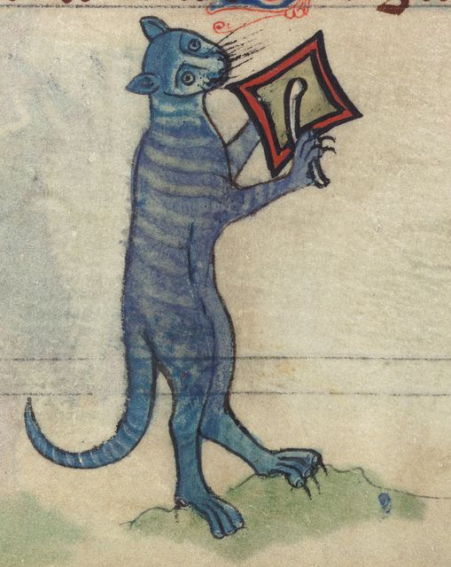 Book of Hours, Cat beating cymbal, from a marginal cycle of images of the funeral of Renard the Fox, Walters Manuscript W.102, fol. 78v detail by Walters Art Museum Illuminated Manuscripts, via Flickr
