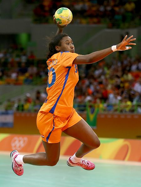Ailly Luciano of Netherlands takes a shot and scores in the second half against Argentina on Day 3 of the Rio 2016 Olympic Games at the…