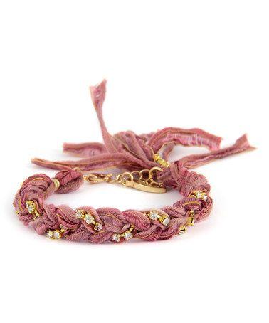 Love this Crystal & Cumin Braided Ribbon Bracelet on #zulily! #zulilyfinds