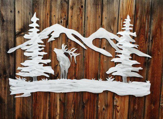 Elk Open air Mountains Timber Metallic Wall Artwork Forest Colorado Handmade Aluminum Art work Distinctive Wall Decor Looking Cabin Lodge Kitchen Bed room