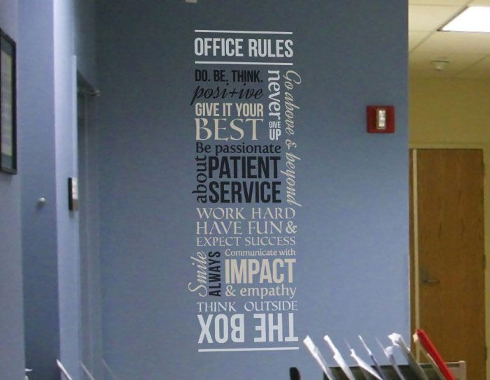 drs. office wall decal | inviting work spaces | pinterest | office
