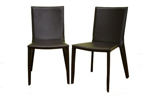 Baxton Furniture Studios Russo Bonded Leather Dining Chair, Chocolate Brown, Set of 2 by Baxton Studio. Save 38 Off!. $234.58. Steel legs and frame for stability; low-profile black plastic floor protectors. Measures 18 inches wide by 22 inches deep by 34 inches high. Set of 2 contemporary dining chairs with streamlined, modern design. Brown matched stitching on seat and seatback for seamless looks. Seat, legs, and seatback covered in chocolate brown bonded leather. Chair measures 18 inches…