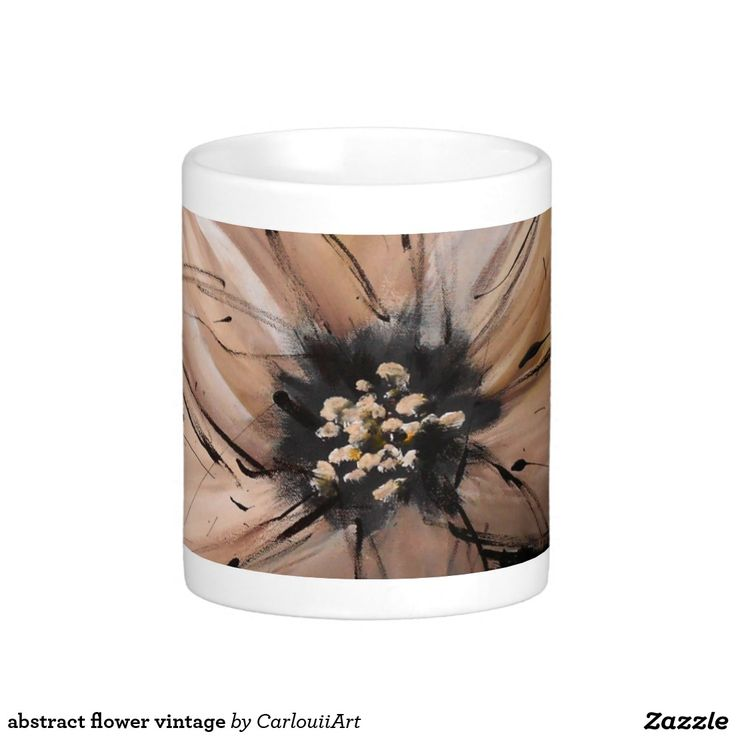 abstract flower vintage classic white coffee mug