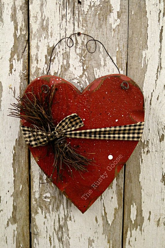 Valentine Decor Primitive Wood Heart Barn Red by therustygoose, $15.95