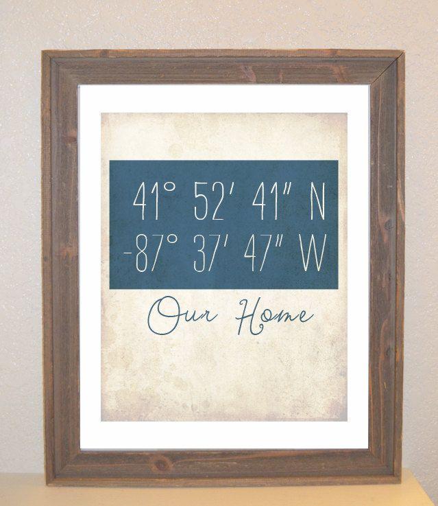 Latitude Longitude Customizable Art Print. $16.00, via Etsy...really cute idea for a first home for M & D