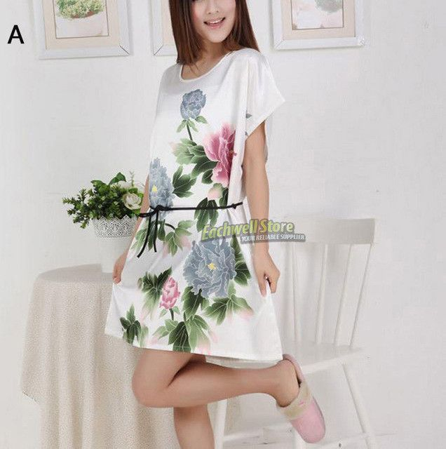 Short Sleeve Floral Sexy Plus Size Women Silk Robe Lady Girl Silk Pajamas Housecoat Nightgowns Loungewear Sleepwear