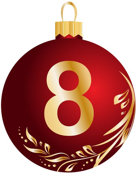 Christmas Ball Number Eight Transparent PNG Clip Art Image