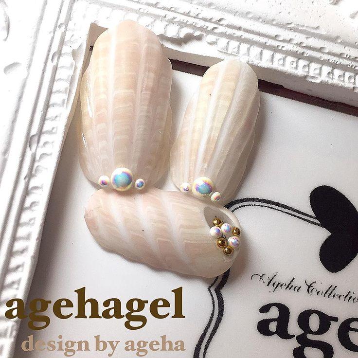 貝殻アレンジ ツヤツヤ、キラキラ してない、ちょっとリアルな 貝殻アート♡ シーサイドに流... | ネイルアーティスト ageha ネイルデザインブログ