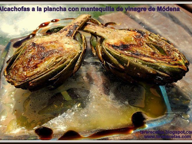 Alcachofas a la plancha con mantequilla de vinagre de módena., Receta por Tererecetas - Petitchef