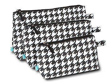 """Houndstooth 3 Piece Cosmetic Bag Set by Room it Up. $19.95. Perfect for organizing cosmetics & toiletries. Great for embroidery!. Three bag set: Small, Medium & Large. Dimensions: Large 11.25"""" x 7""""Medium 9.5"""" x 5.75""""Small 7.75"""" x 4.5"""". Gift packaging with ribbon. Look no further for the ultimate cosmetic bag set! The Room It Up 3 Piece Cosmetic Bag Set has not 1, not 2, but 3 . . . YES, 3 cases! You will not have a tough time organizing all of your toiletries with these cosmetic..."""