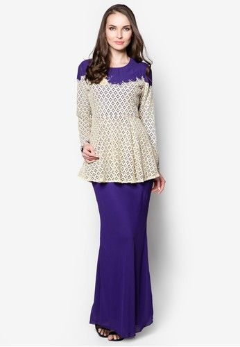 Crochet Bodice Peplum Baju Kurung Moden from Era Maya in Purple and Beige Blouse  - Round neckline  - Fabric floral details  - Crochet lace bodice  - Peplum design  - Long sleeves  - Come with inner lining  - Hidden side zip as closure  - Blouse length : 72cm ( + - ) for all sizes   Skirt  - Chiffon material  - Come with i...