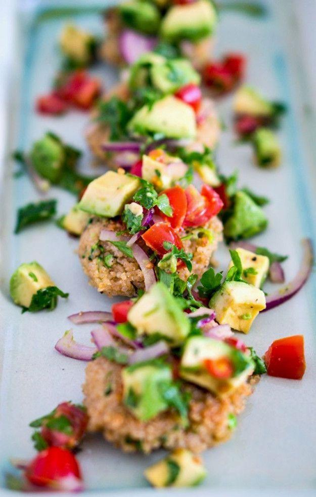 {Quinoa fritters with avocado salsa.}