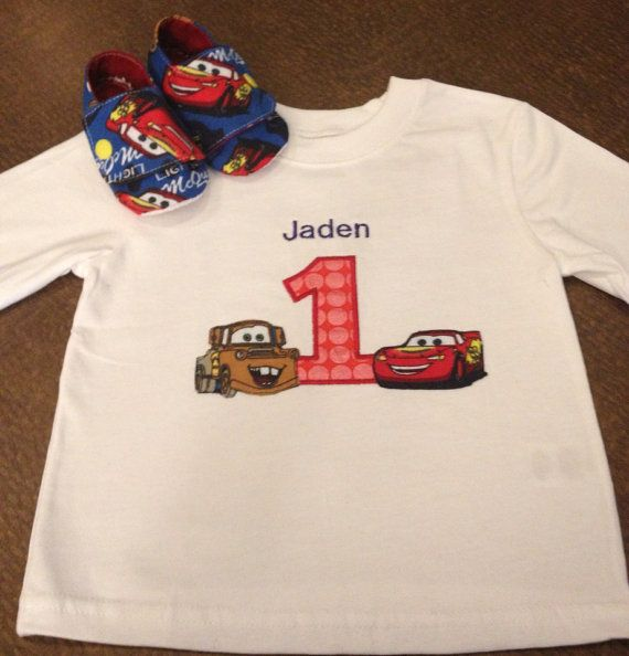 Disney cars embroidered shirt birthday
