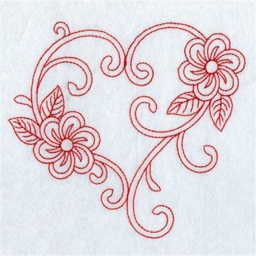 Premium Embroidery Embroidery Design: Redwork Floral Heart 3.41 inches H x 3.80 inches W..lots of embroidery designs here!!