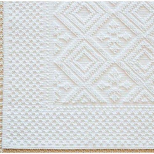 Jacquard Badvorleger. Edler weißer Vorleger aus Baumwolle von Evelyn Kahle.