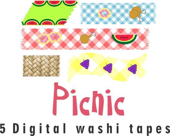 Gingham digital washi tape 'picnic washi tape even has the picnic basket! by GemmedSnail, $1.00