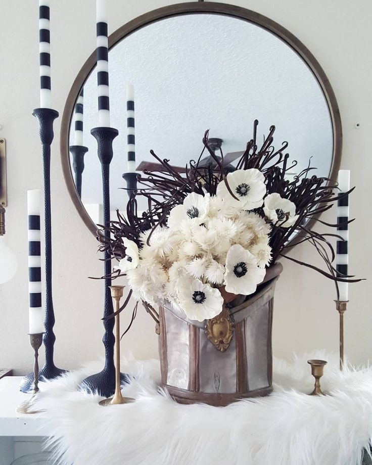 Faux Flowers Fall Winter Scandinavian Decor Inspiration Design