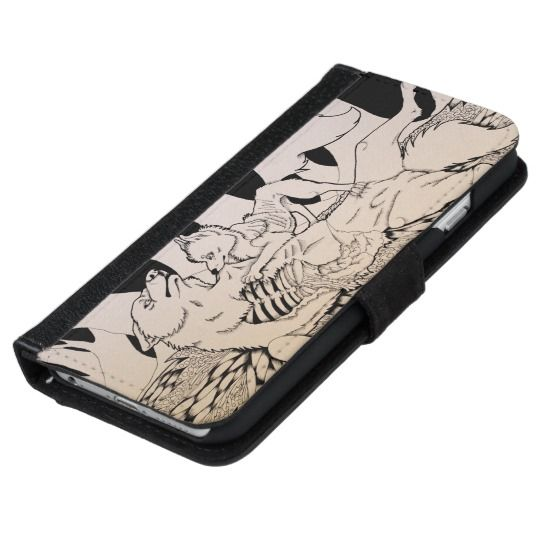 """""""Eat Your Heart Out """" Cute Gothic wolf and small dog couple Wallet Phone Case For iPhone 6/6s"""