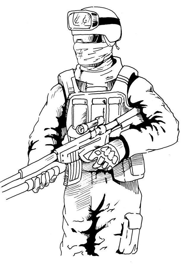 Call Of Duty Para Colorear Soldados Dibujo Dibujos De Armas