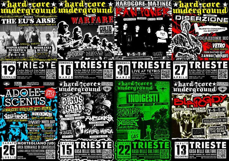 Hardcore Underground TS Live Gigs 2014 #poster #gigposter #hardcorepunk #punkflyers #hardcoreundergroundts #trieste