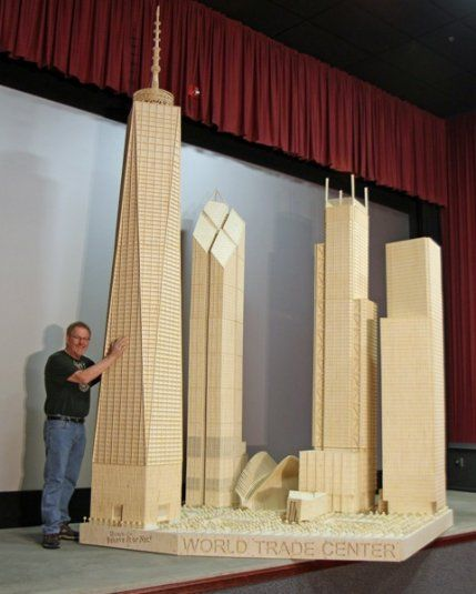 The World Trade Center // 468,000 matchsticks, 17 gallons of wood glue, and 2,100 man hours