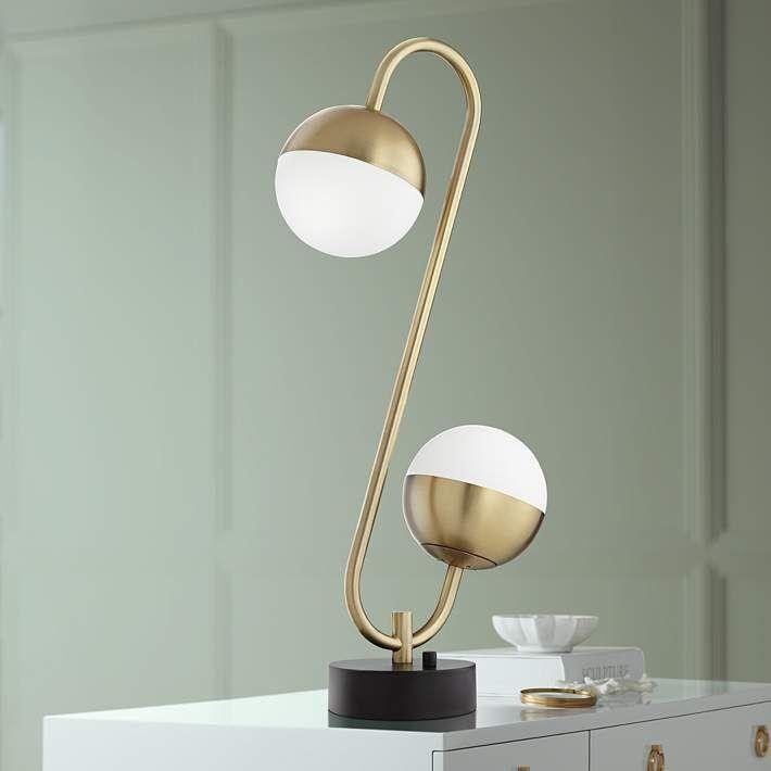 Possini Euro Kara Brass 2 Light Globe LED Table Lamp