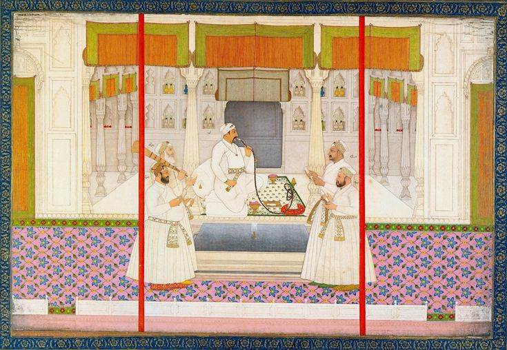 Emperor Muhammad Shah Rangeela seated in the center. (L) Raushan-ud-daulah (front) and  Burhan ulk Mulk Saadat Khan I (Back). (R) Khwaja Asim Khan Dauran VII (back) and Qamar-ud-din Khan (front).