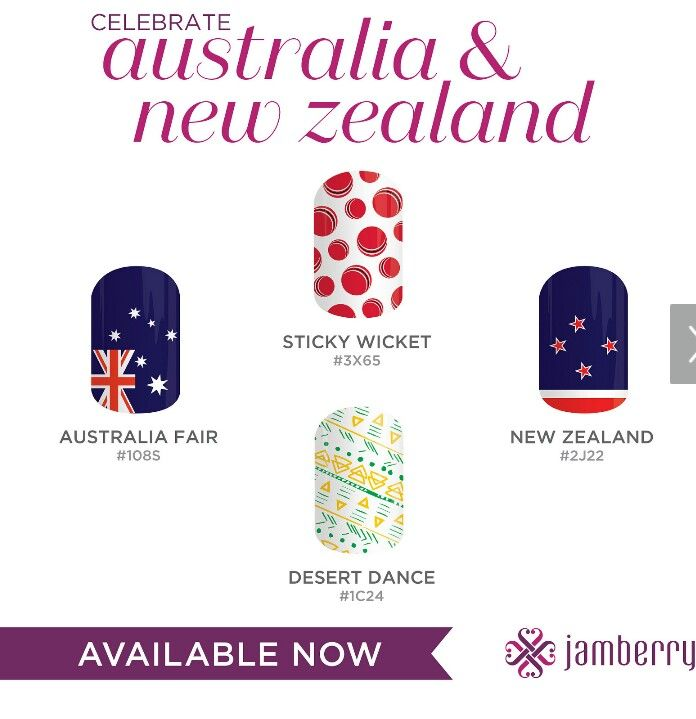 Australia and New Zealand get in quick with these limited addition nail wraps. This will be a great hit come Australia Day!!!  Get yours here now  www.jamwithhel.jamberrynails.com