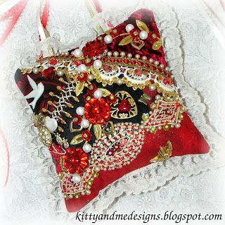 Crazy Quilting and Embroidery Blog by Pamela Kellogg of Kitty and Me Designs: Valentine Door Pillows