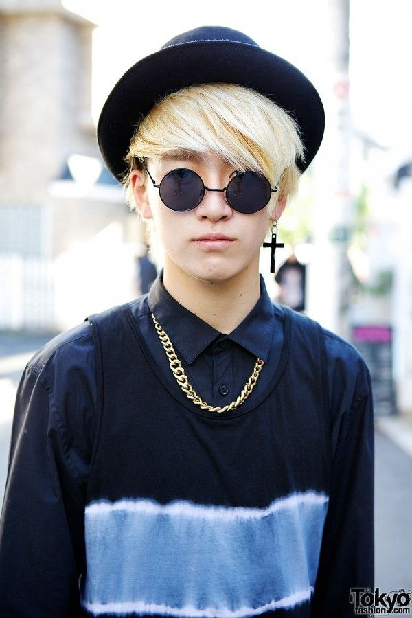 japanese street fashion. Somehow this boy makes a tank top worn over a button down look so fabulous and classy. The gold chain necklace ties the whole look together, and it even matches his blond hair. Love the single cross earring.