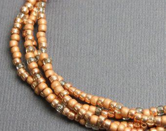 Kupfer, Pfirsich-Samen Perle Halskette, lange Pfirsich-Samen-Perlenkette, Pfirsich farbigen Ketten, Pfirsich Halsketten, Kathy Bankston, Rocailles-Perlen-Halskette