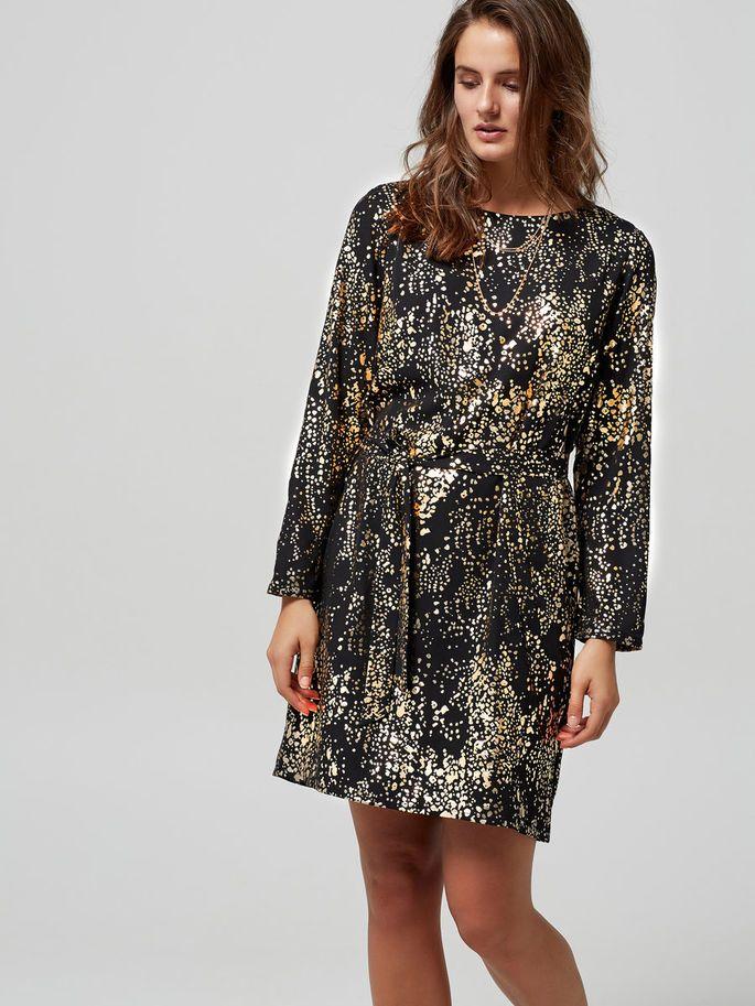 GOLD PATTERNED - LONG SLEEVED DRESS, Black, large