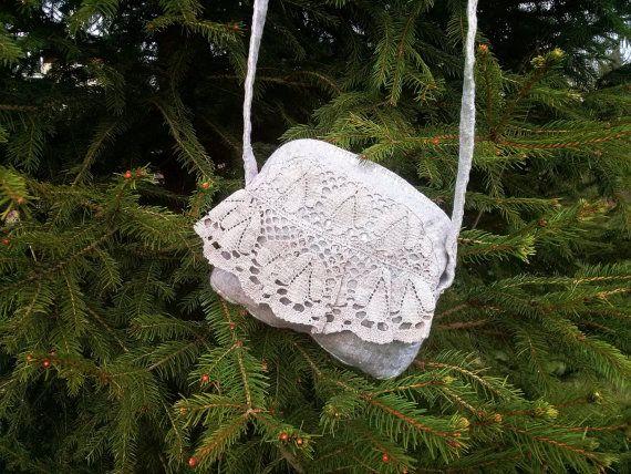 Linen Handbag with Lace Decoration  Small Linen Purse by LoriYarns, $25.00