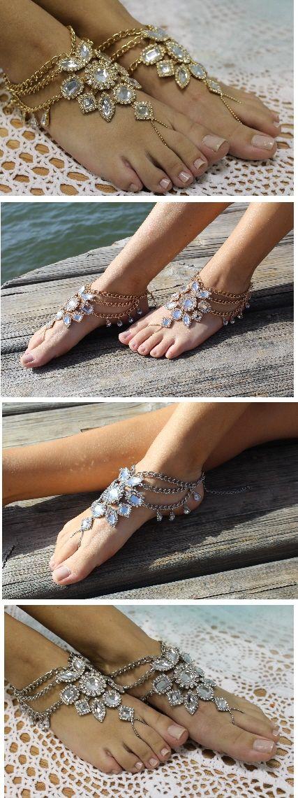 Barefoot sandals, bohemian wedding, boho style - wedding - crystal