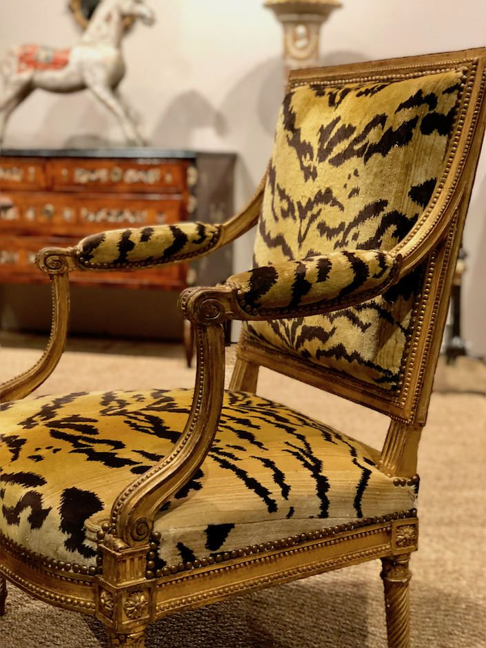 Louis XVI giltwood chairs by Jacob at Yew Tree House Antiques at the San  Francisco antiques show - San Francisco Fall Art And Antiques Show Antiques And Decorative