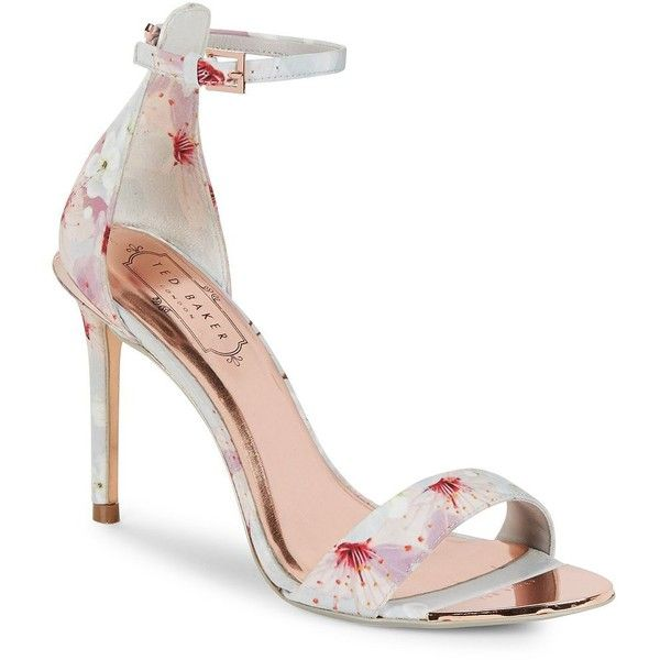 Ted Baker London Charv Floral Heeled Sandals ($180) ❤ liked on Polyvore featuring shoes, sandals, floral chalk, high heeled footwear, floral print sandals, ankle wrap sandals, high heel sandals and open toe sandals