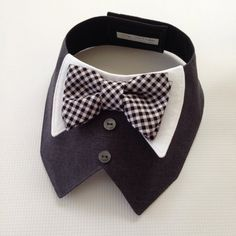 Charcoal Gray Tuxedo/Tux collar bib-style by FurryTaleCouture